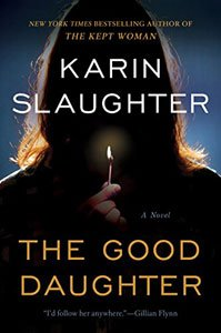 Spooky Books For Adults The Good Daughter By Karen Slaughter book cover with shadow of woman holding a candle