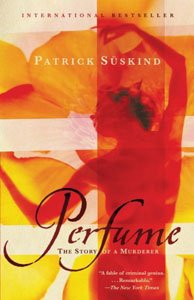 Spooky books for adults Perfume by Patrick Suskind yellow, orange, and red book cover with naked person swaying