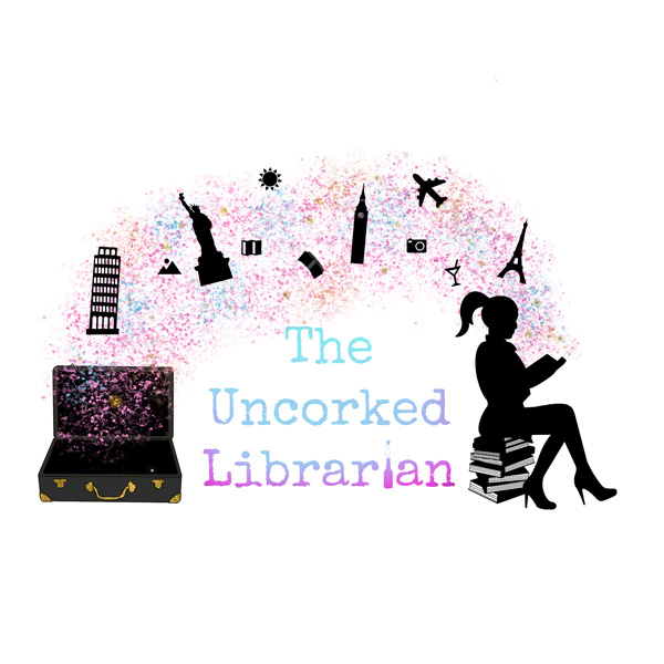 The Uncorked Librarian Book Blogging Logo with woman sitting on books reading a book with travel icons floating on rainbow dust into an open suitcase