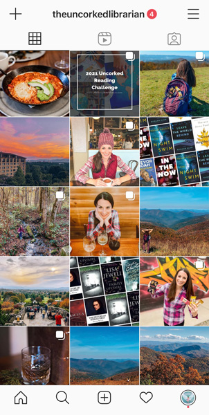 The Uncorked Librarian book blog on Instagram screenshot of grid