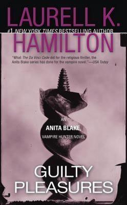 Vampire Book Series Guilty Pleasures by Laurell K Hamilton purple book cover with enlarged screw facing up