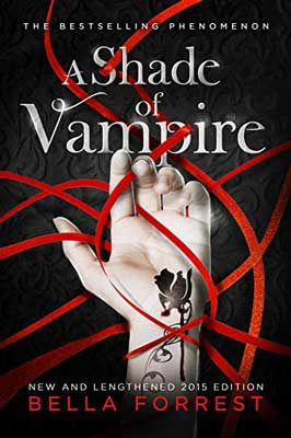 A Shade Of Vampire by Bella Forrest book cover with hand holding red ribbons and a flower tattoo