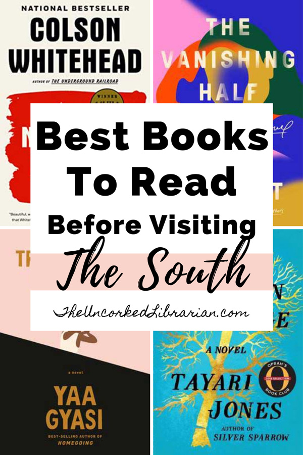 Best Southern Books, Writers, Authors Pinterest Pin with book covers For Transcendent Kingdom, An American Marriage, The Nickel Boys, and The Vanishing Half