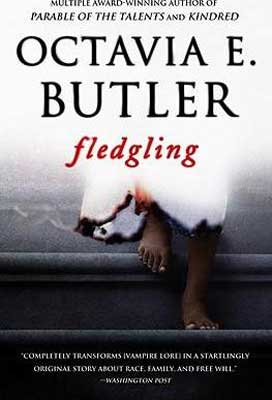 Fledgling by Octavia E. Butler book cover with woman in white blood stained dress and feet on a step