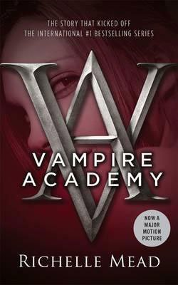 Vampire book series for tweens and teens Vampire Academy by Richelle Mead maroon book cover with young looking between the V and A