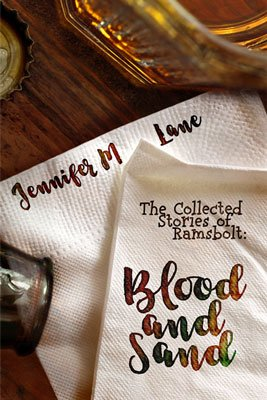 Blood and Sand by Jennifer M Lane book cover with cocktail napkins