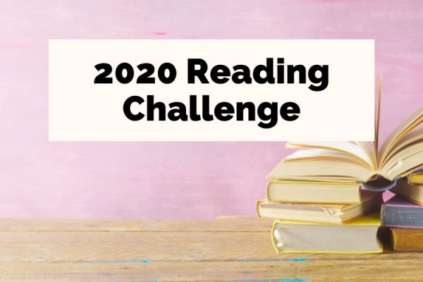 2020 Reading Challenge with pile of books