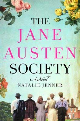 Post-WWII historical fiction, The Jane Austen Society by Natalie Jenner book cover with community of people looking at Jane Austen's home