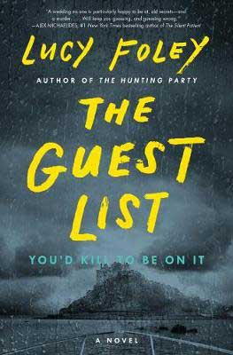 2020 Spooky Books, The Guest List Lucy Foley book cover with mansion on an island in the rain