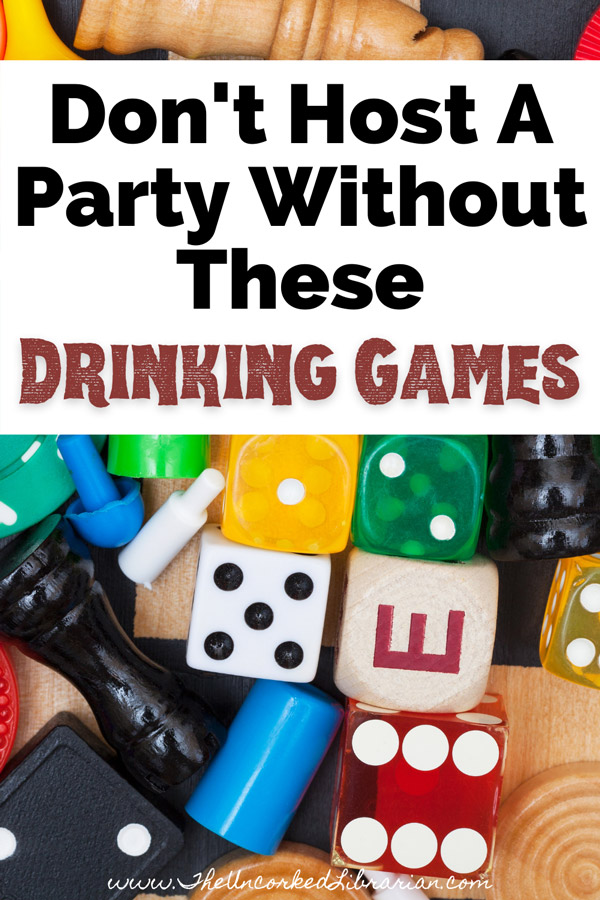 Adult Drinking Board Games Pinterest Pin with picture of game pieces, chess pieces, and dice