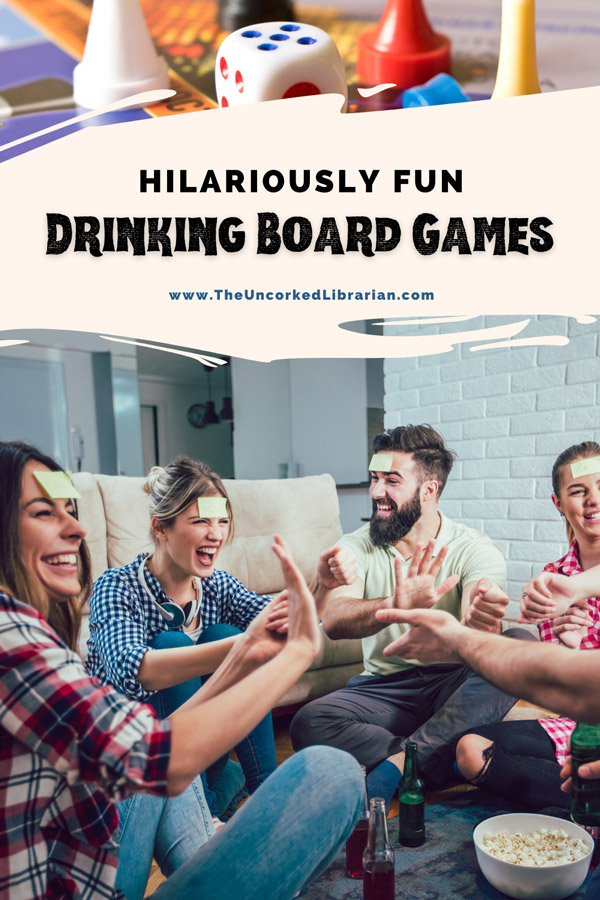Best Adult Drinking Board Games For Parties Pinterest pin with game pieces and group of white females and males playing a game with drinks and popcorn