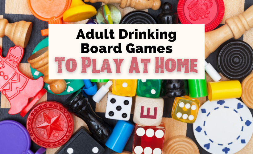 Best Drinking Board Games For Adults with game pieces like dice and chess