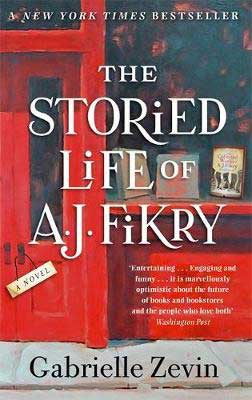 The Storied Life of A.J. Fikry by Gabrielle Zevin book cover with red storefront and window of a bookstore