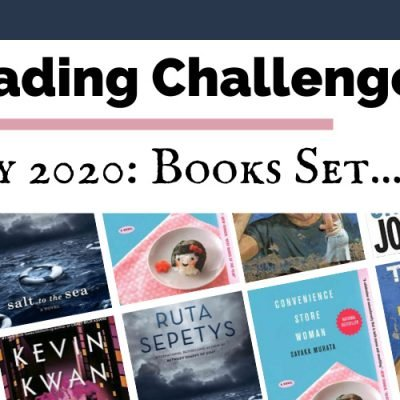 July 2020 Reading Challenge book discussion with book covers for Sex and Vanity, Salt to the Sea, Convenience Store Woman, Born A Crime, The Snowman, and A Burning