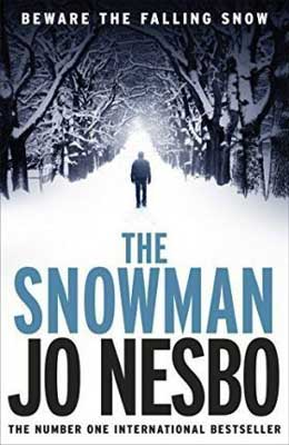 The Snowman by Jo Nesbo book cover with man walking in a snow-covered forest