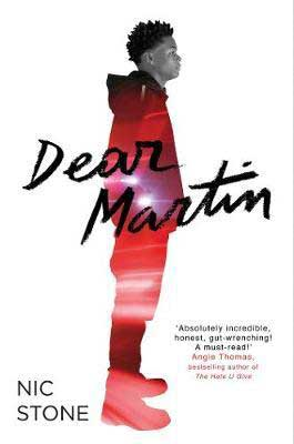 Dear Martin by Nic Stone book cover with Black teenager in a red outfit