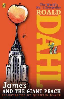 James and the Giant Peach by Roald Dahl orange book cover with giant peach on top of the Empire State building