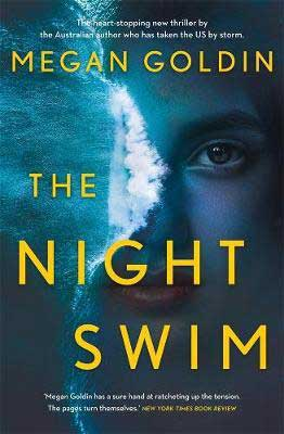 The Night Swim by Megan Goldin book cover with waves breaking on a beach with half woman's face