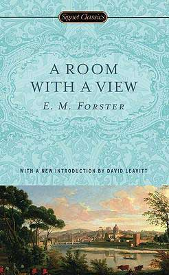 Classic Books About Italy, A Room With A View by E.M. Forster blue book cover with Florence and Arno