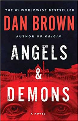 Angels And Demons by Dan Brown red and black book cover with the Vatican