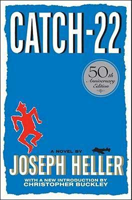 Catch 22 by Joseph Heller blue book cover with red soldier