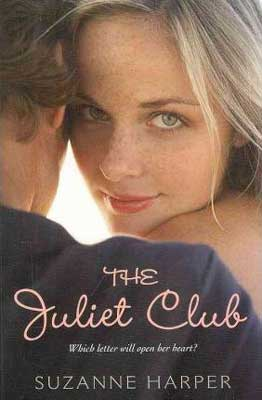 The Juliet Club by Suzanne Harper book cover with blonde white woman looking over the shoulder of a brunette male