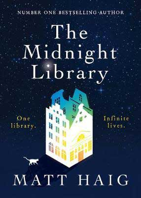September 2020 time travel book release, The Midnight Library by Matt Haig deep blue book cover with large library structure