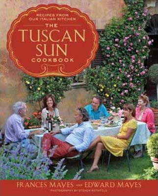 Italian Cookbooks, The Tuscan Cookbook by Frances Mayes book cover with six people sitting around a table with food