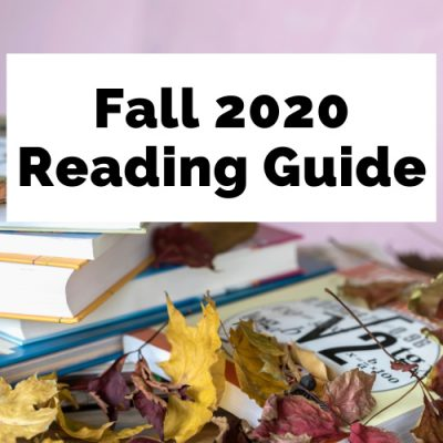 Fall 2020 Book Releases Reading Guide with pink background, books, and leaves