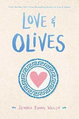 YA books releasing in fall 2020, Love & Olives by Jenna Evans Welch book cover with heart inside Greek symbol