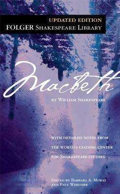 Macbeth by William Shakespeare book cover with purple background