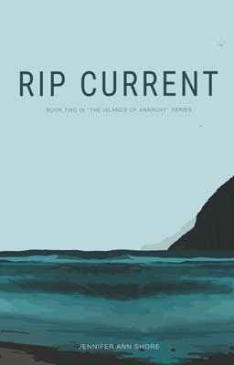 Rip Current by Jennifer Ann Shore book cover with turquoise water and black cliff