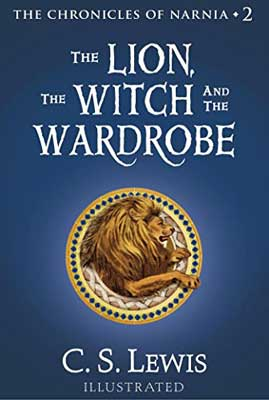 The Lion, The Witch, and The Wardrobe by CS Lewis book cover with lion in seal on blue background