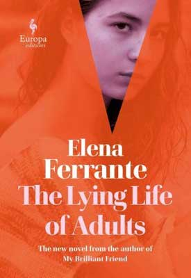 Woman in translation fall 2020 book release, The Lying Life of Adults by Elena Ferrante red and orange book cover with woman's face looking through a curtain