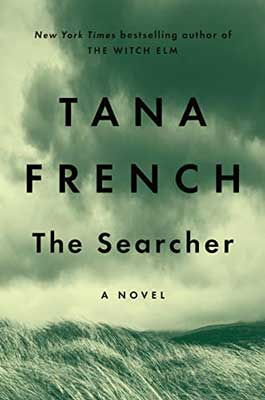 The Searcher by Tana French green book cover with clouds over a field