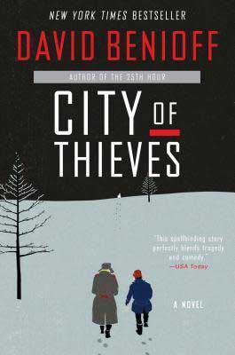 City Of Thieves by David Benioff book cover with man and woman walking on a snow covered ground