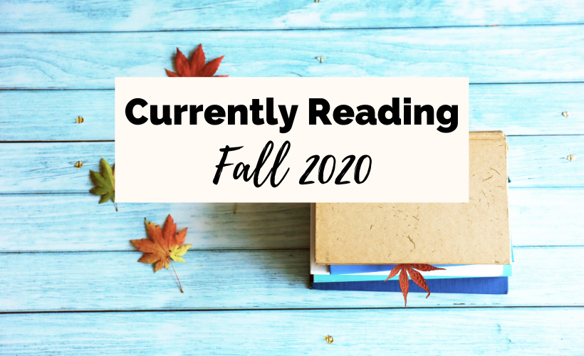 Currently Reading Fall 2020 withe turquoise wood, book, and fall leaves