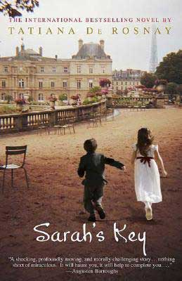 Sarah's Key by Tatiana de Rosnay book cover with young boy reaching for young girl's hand