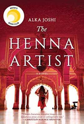 The Henna Artist by Alka Joshi book cover with woman wearing red sari in a red palace room