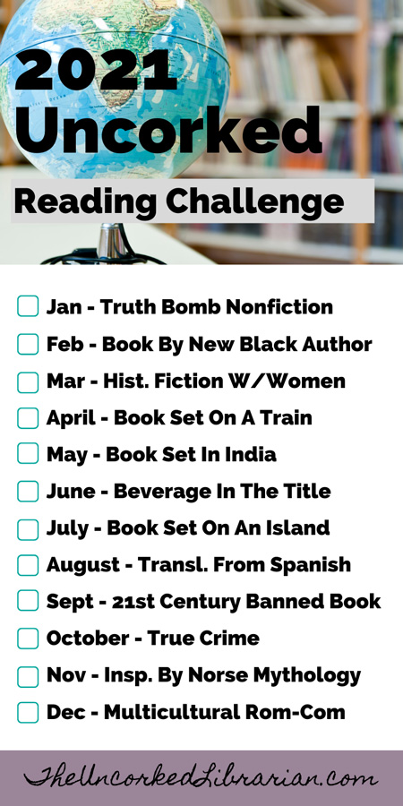 Uncorked Reading Challenge 2021 List with themes by month and picture of a globe in front of bookshelves