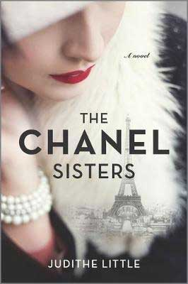The Chanel Sisters by Judithe Little book cover with Eiffel Tower and white woman wearing red lipstick and pearls