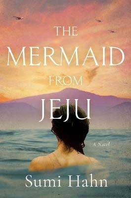 The Mermaid from Jeju by Sumi Hahn book cover with woman's head poking out of water and looking at purple mountains