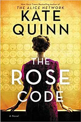 The Rose Code by Kate Quinn book cover with woman's back turned and maroon dress