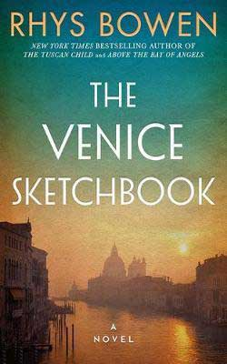 The Venice Sketchbook by Rhys Bowen book cover with sun over city
