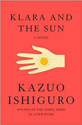 Klara And The Sun by Kazuo Ishiguro red book cover with sun in palm of hand