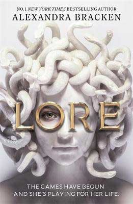 YA fantasy 2021 new books, Lore by Alexandra Bracken book cover with white head filled with snakes