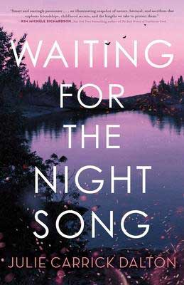 Most-Anticipated 2021 new book releases, Waiting For The Night Song by Julie Carrick Dalton book cover with pink and purple lake at night