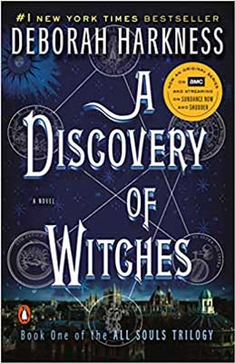 A Discovery Of Witches by Deborah Harkness book cover with city scape and wicca symbols