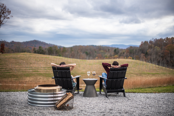 About The Uncorked Librarian Christine, white brunette female and male sitting in chairs with red and white wine overlooking a vineyard