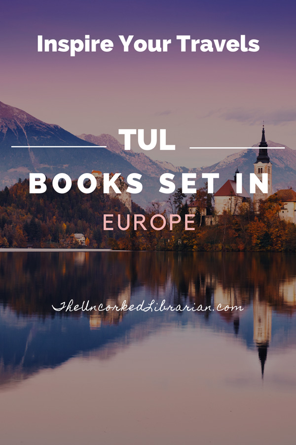 Books Set In Europe Pinterest Pin with picture of church along water in Slovenia